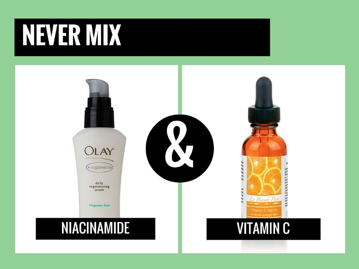 never mix vitamin c with niacinamide
